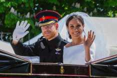 Image of Prince Harry and Meghan on their wedding day.